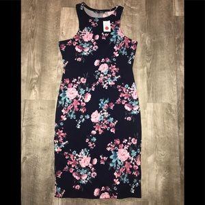 Floral Blue/Punk Tank Dress Sz L NWT